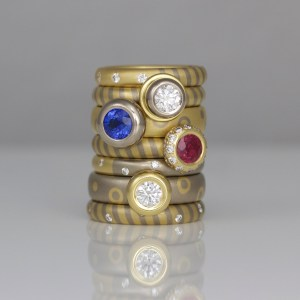18ct white and yellow gold rings