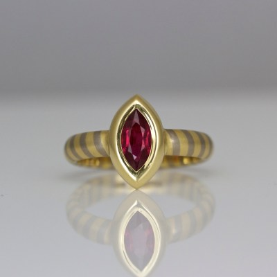 Contemporary marquise ruby ring