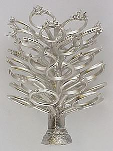 A platinum casting ring tree