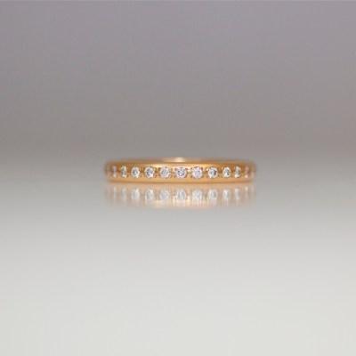 rose gold pave set diamond ring