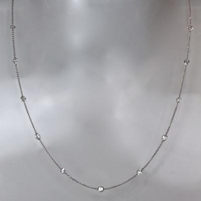 rose cut diamond white gold necklace