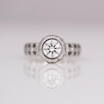 Platinum & diamond rub-over set ring in Platinum