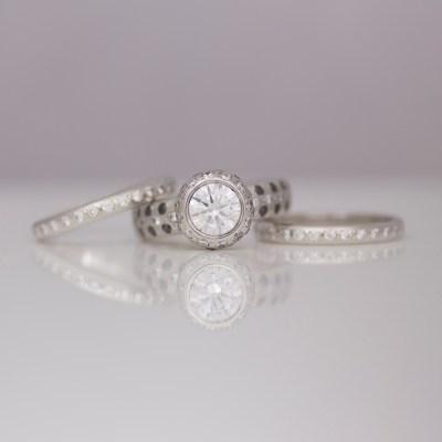 Black & white diamond set in modern platinum ring