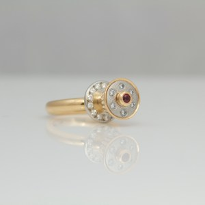 Ruby and diamond rose gold and platinum cocktail ring
