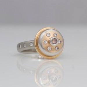 Pink diamond, rose gold and platinum cocktail ring