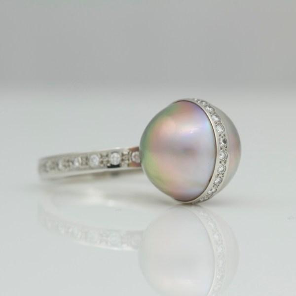 Tahitian pearl & diamonds set platinum ring