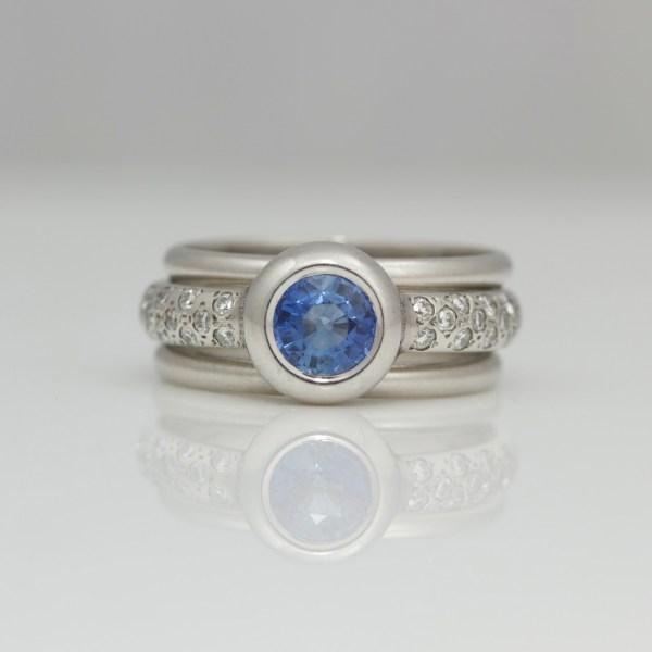 Sapphire and diamond platinum stacking ring