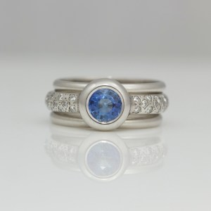 Sapphire and diamond platinum stacking ring