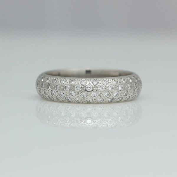chunky platinum ring pave set with diamonds