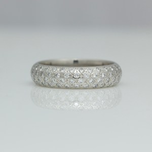 chunky platinum ring pave set with diamonds
