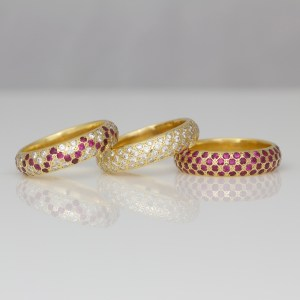 Diamonds & rubies pave' set in 18ct yellow gold rings