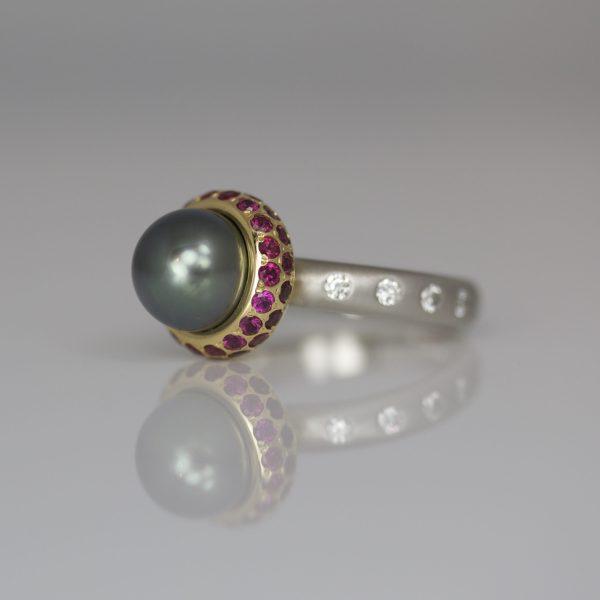 Tahitian pearl ring with rubies & diamonds