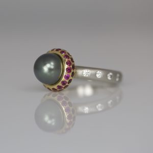 Tahitian pearl ring with rubies & diamonds