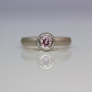 Pink & white diamond platinum engagement ring