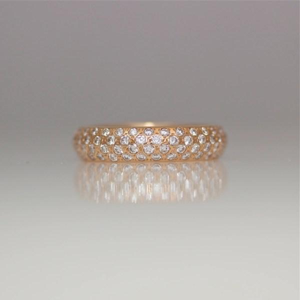 Pave' set rose gold diamond ring 0943