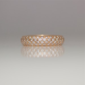 Pave' set rose gold diamond ring 0943