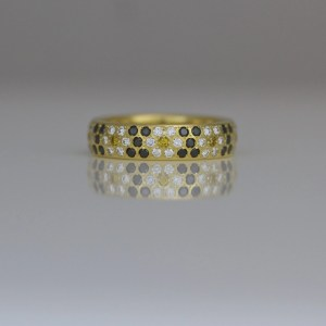 Yellow, white & black diamond daisy ring