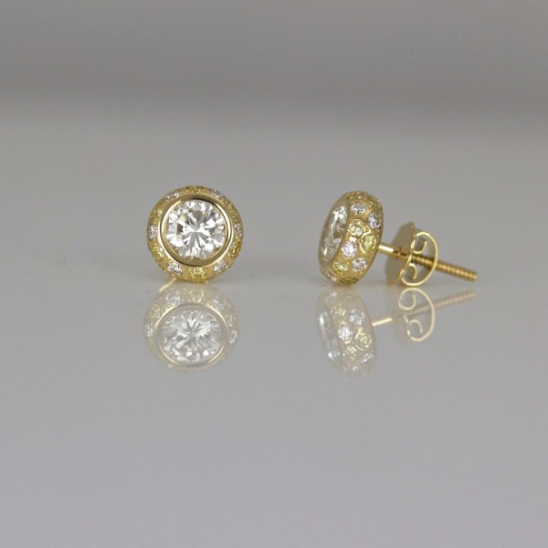 Yellow & white diamond ear-studs
