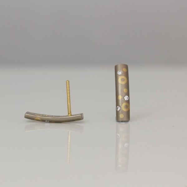 18ct dot & circle ear-studs with diamonds
