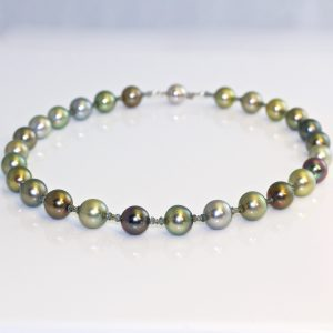 Tahitian pearl necklace fancy colour diamonds & sapphires.