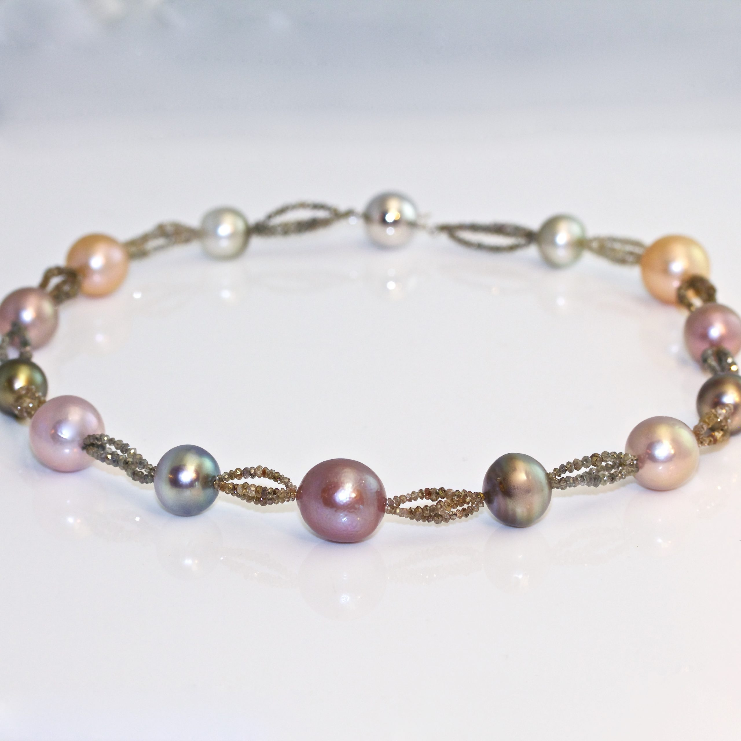 Perfect Tahitian pearl necklace