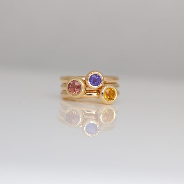 Fancy sapphires in 18ct rose gold stacking rings