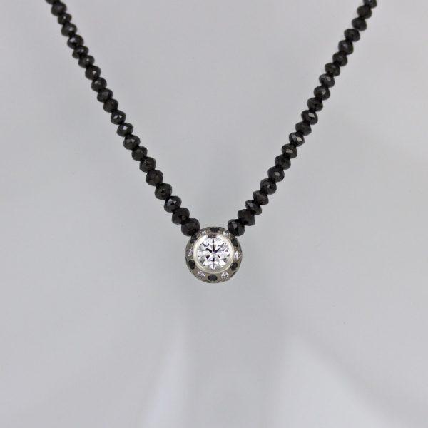White & black diamond necklace