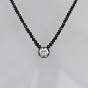 White & black diamond necklace