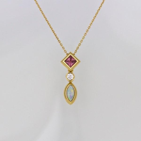 Sapphire, diamond & opal necklace