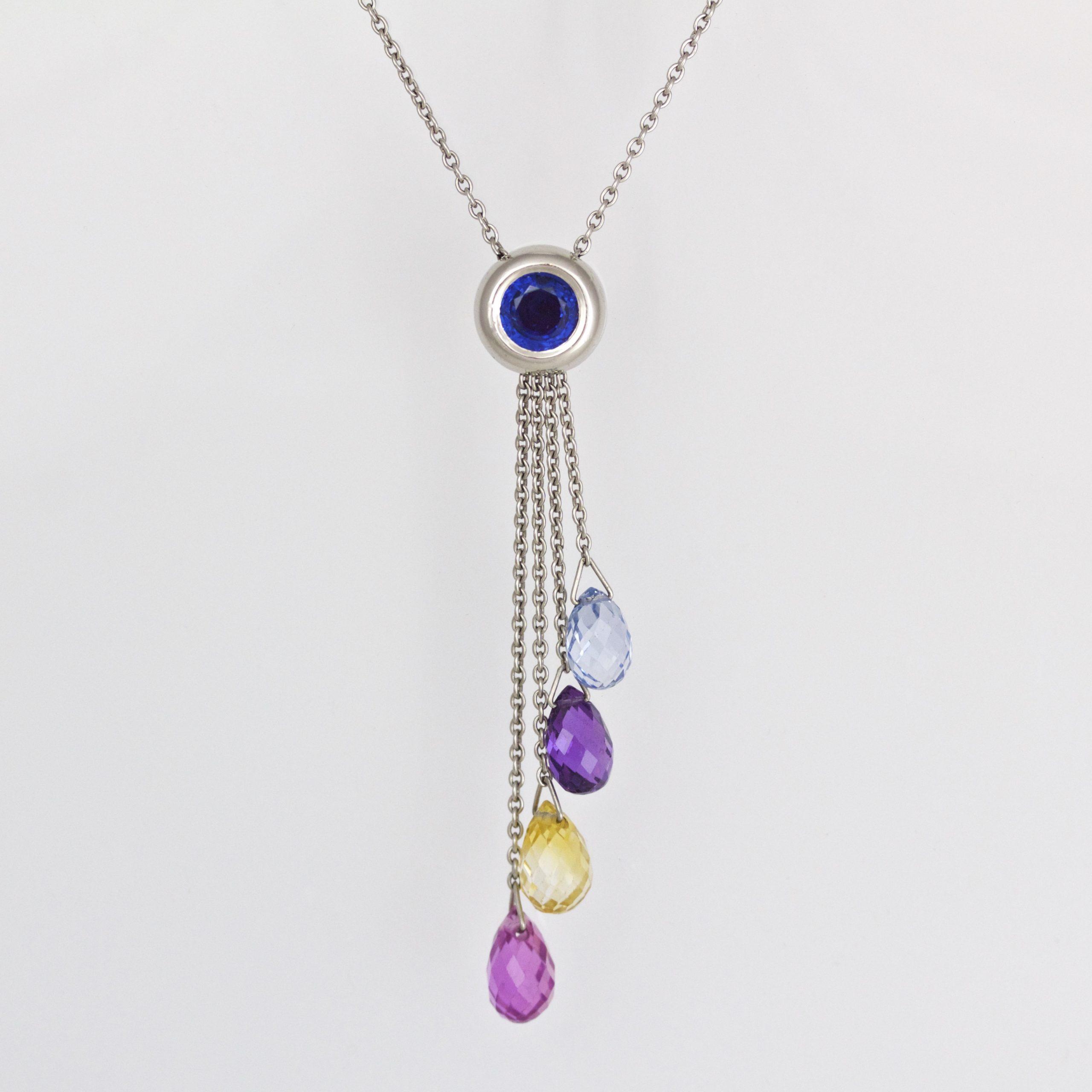 Multi-colour natural Sapphire and platinum necklace