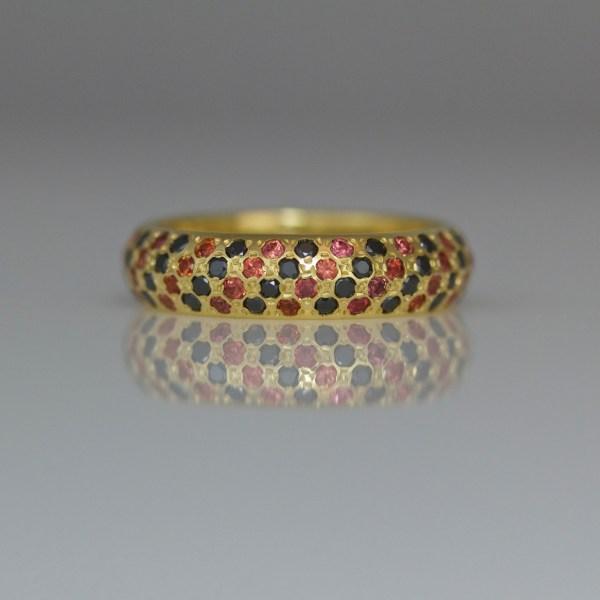 Diamonds & orange sapphires pave' set in 18ct yellow gold ring 0982