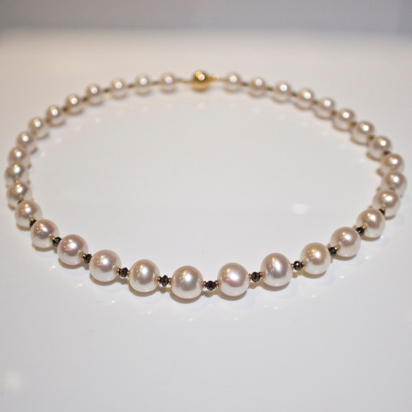 Pearl, black diamond & 18ct gold necklace
