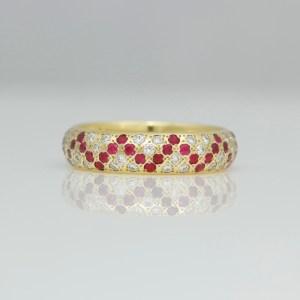 Diamond & Ruby pave set ring 0891 David Ashton