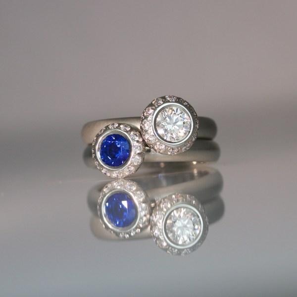 modern rub-over set rings