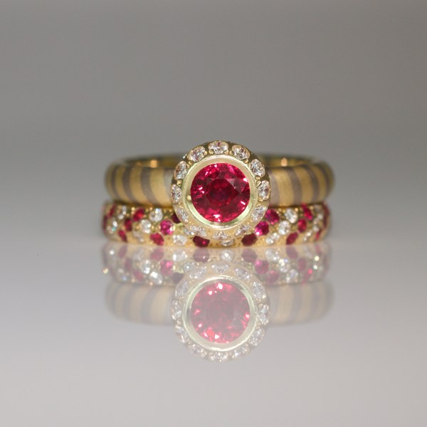 Perfect ruby and diamodn ring stack