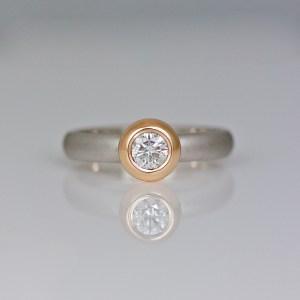 Rub-over set modern diamond ring 1018 David Ashton