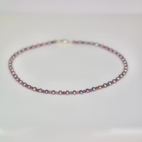 Pink tourmaline & black pearl necklace