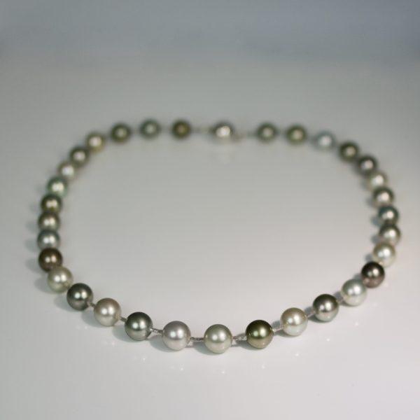 Natural colour pear & grey diamond necklace
