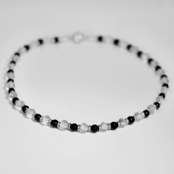 Onyx quartz silver necklace
