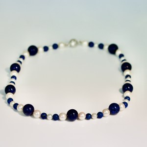 Lapis, sodalite & pearl necklace