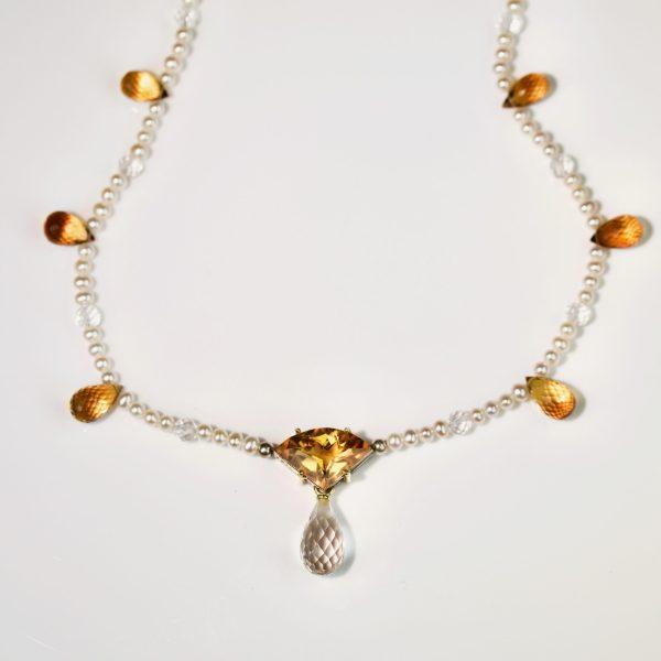 Citrine, quartz & pearl necklace