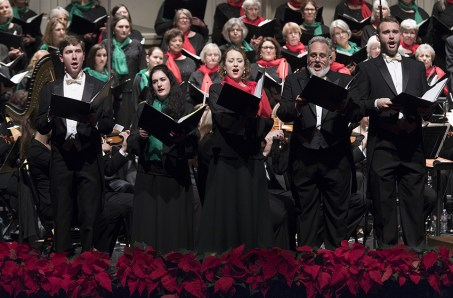 """Soloists Eric Rodkey, Naomi Merer, Sally Rose Bates, James Kirkland and Tyler Reece sing """"The 12 Gifts of Christmas"""" with Santa Barbara Choral Society 12/10/16 The Lobero Theatre"""