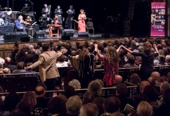 """Audience gets up to tantsn. Itzhak Perlman and stars of Klezmer - """"In the Fiddler's House"""" 20th Anniversary concert - UCSB Arts & Lectures 1/23/17 The GranadaTheatre"""