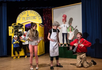 """Mac gets his just deserts in Upstarts! Youth Theater's production of Emma Jane Huerta's """"Mabreath"""" 3/15/17 Peabody Charter School"""