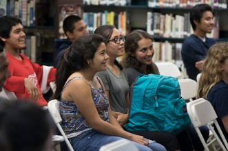 Santa Barbara High School students listening to author Luis Alberto Urrea - UCSB Arts & Lectures 4/24/17