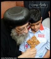 H.G. Bishop Tawadros meets and speaks with Bishoy Girgis Mossad, the young boy who picked his name in the Divine Altar Lot.