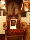 Photo of H.G. Bishop Tawadros place on the Patrichal Throne in the church of Virgin Mary & Archangel Michael in Hamden, CT.