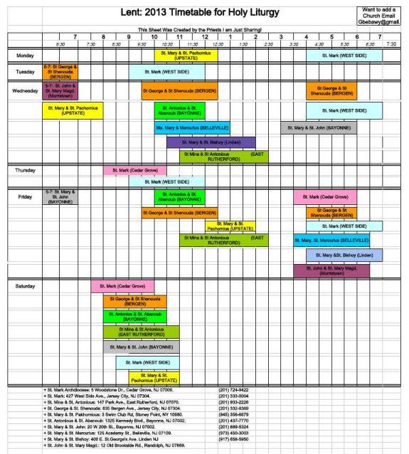 2013 Local Lenten Schedule