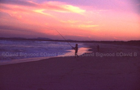 Beach fishing and sunset afterglow