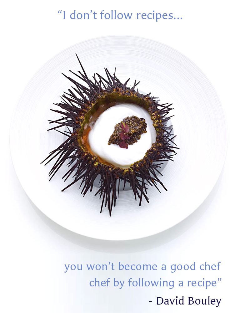 "Bouley at Home Restaurant 31 West 21st Street, Flatiron, NYC. Pictured is a spiny sea urchin with caviar inside. ""I don't follow recipes. you won't become a good chef by following a recipe."" - David Bouley"